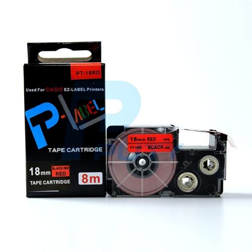 Nhãn in PT-18RD / Chữ đen nền đỏ 18mm