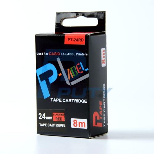 Nhãn in PT-24RD / Chữ đen nền đỏ 24mm