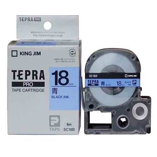 TEPRA SC18B - CHỮ ĐEN NỀN XANH DƯƠNG 18MM