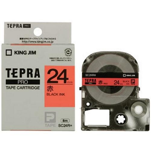 TEPRA SC24R- CHỮ ĐEN NỀN ĐỎ 24MM